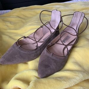 INC Suede Strappy Ballerina Flats